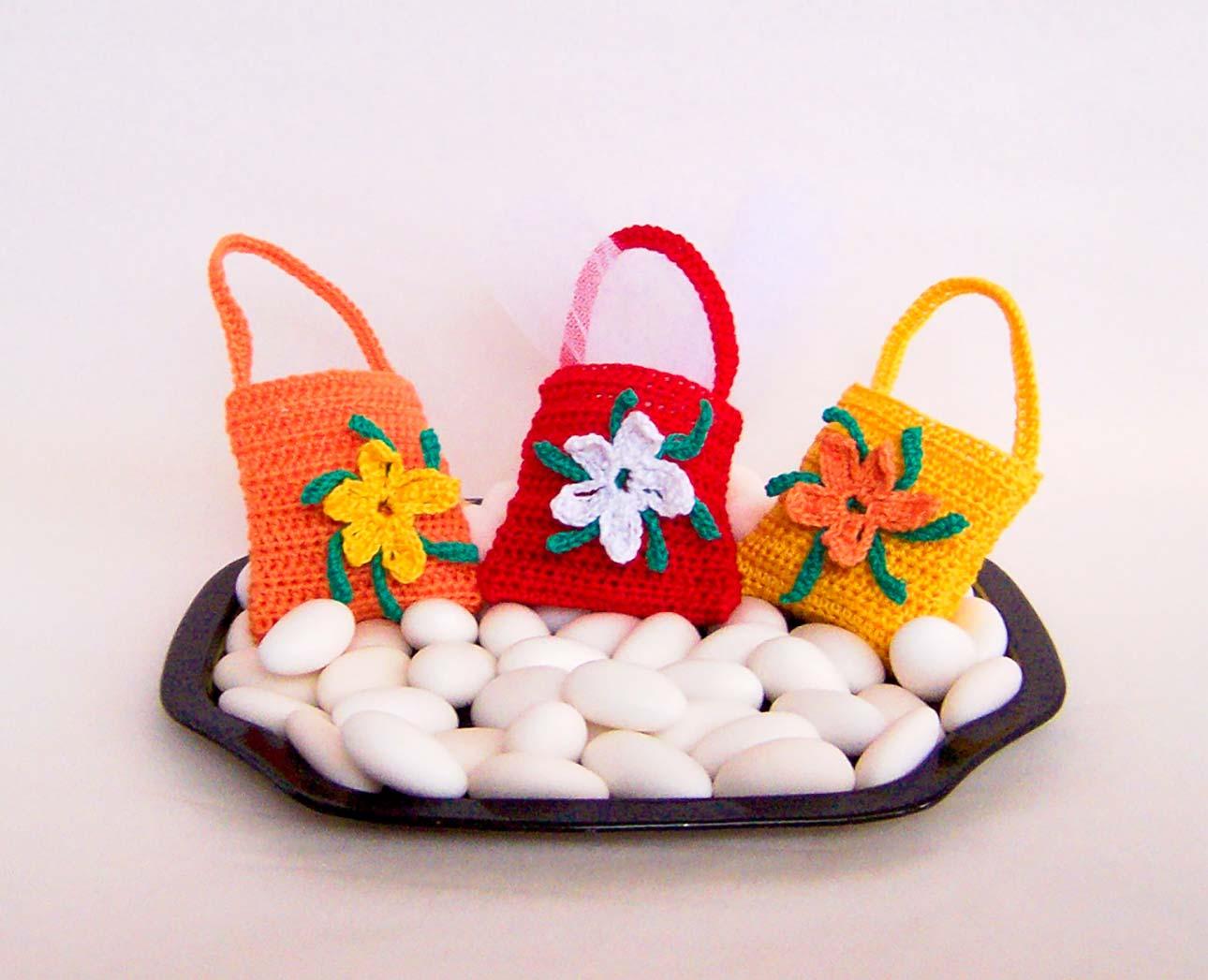 sacchetti uncinetto per bomboniere borsetta fiori