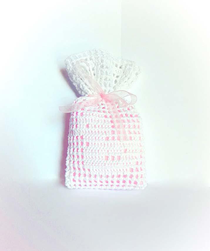 sacchetti uncinetto per bomboniere battesimo paperella