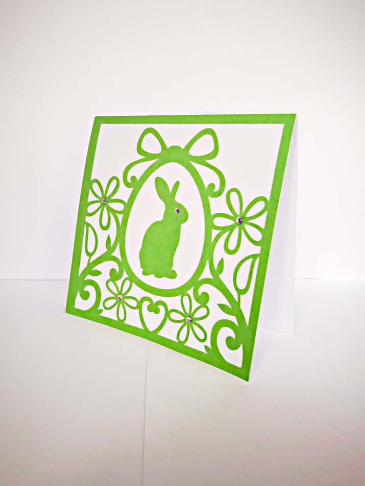biglietti per pasqua con coniglietto verde