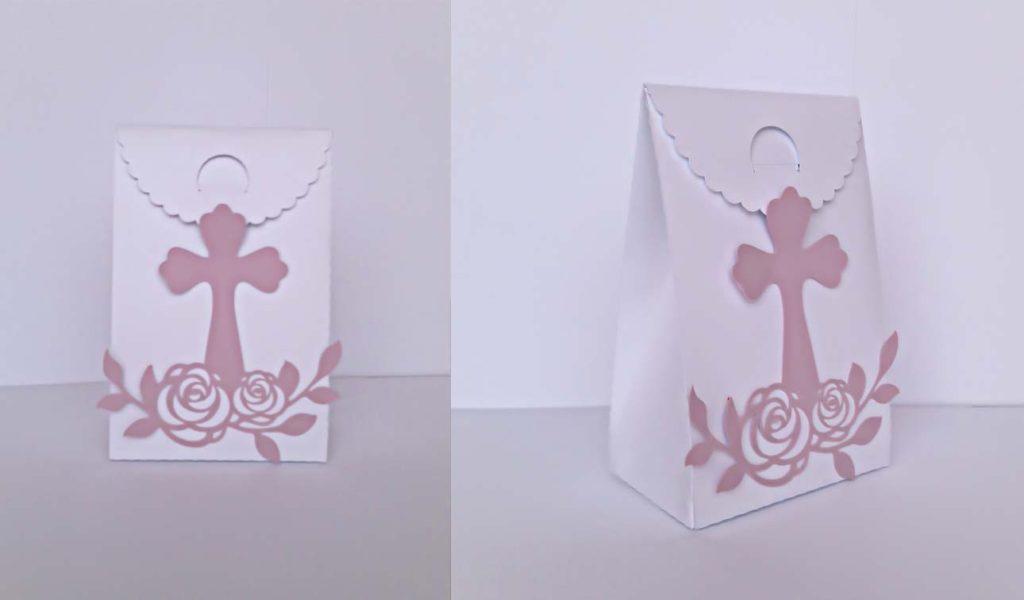 bomboniere cresima fatte a mano con crocefisso e rose