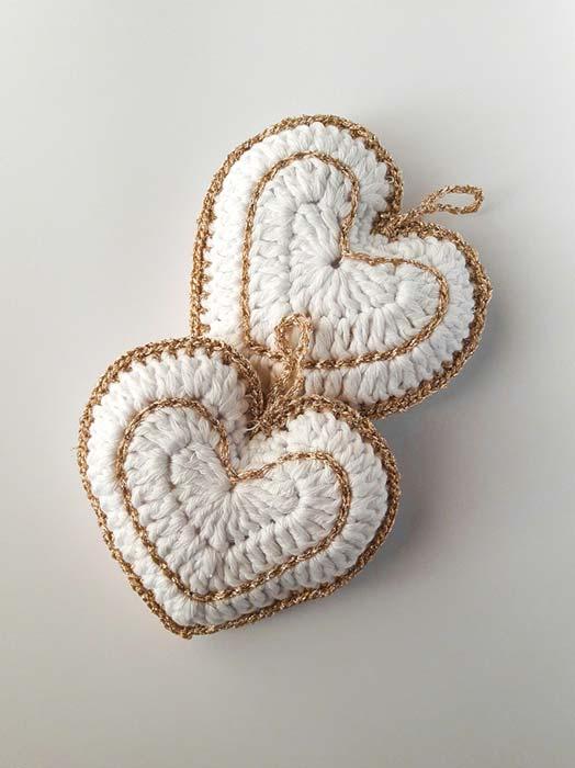 segnaposto matrimonio uncinetto cuore oro