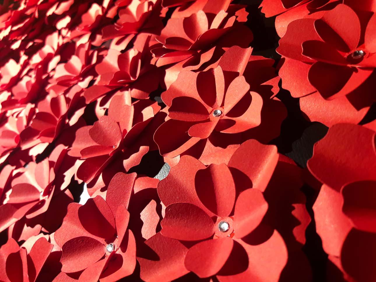 segnaposto matrimonio tema fiori carta rosso